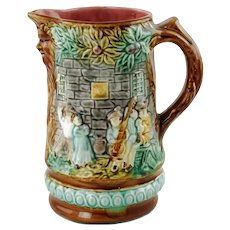 Antique French Majolica Frie Onnaing Flemish Flamands Pattern Pitcher 714