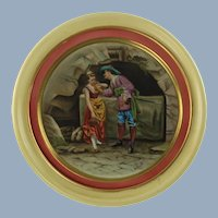 Antique 19th Century Hand Painted Bohemian Porcelain Wall Plaque Am Brunnen or At the Fountain A. Grund