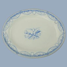Large Antique Wedgwood Pearlware Robert Adam Neoclassical Style Oval Platter Peace Doves and Crossed Flaming Torch and Quiver Motif