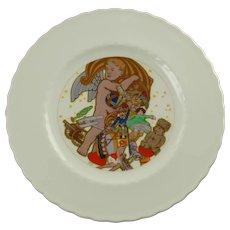 Rare Antique 1914 KPM Porcelain Christmas Plate WWI Max Dürschke Angel with Horn of Plenty and Toys