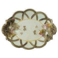 Antique Wedgwood Argenta Ware Wicker and Grape Leaf Majolica Bread Platter 1882