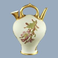 Antique Royal Worcester Blush Ivory Gilded Porcelain Two Spout Handled Jug