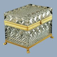 Vintage French Crystal Lidded Box with Gilt Mounts and Figural Lions Paw Feet