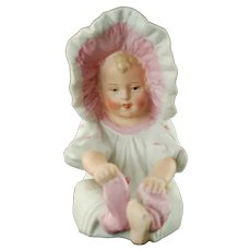 Antique Gebruder Heubach Brothers Bisque Porcelain Piano Baby Girl in Pink Sunbonnet