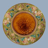 """Antique 19th Century French Majolica Émaux Ombrants 16"""" Wall Plaque Charger Neoclassical Goddess and Seahorse with Polychrome Putti Di Mare"""