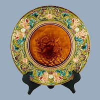 Antique 19th Century French Majolica Émaux Ombrants Charger