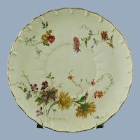 Antique Royal Worcester Blush Ivory Scalloped Edge Plate with Floral Art Sprays and Gilt Decoration