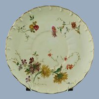 Antique Royal Worcester Blush Ivory Scalloped Edge Plate with Floral Art Sprays