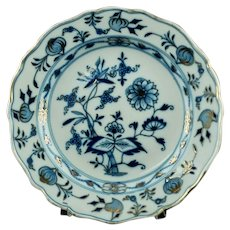 Antique Meissen Porcelain Gilded Blue Onion Plate - Crossed Swords Mark