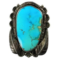 Vintage Navajo Turquoise Sterling Silver Bolo Signed by Andy Willie with Bennett Clasp