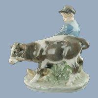 Vintage Royal Copenhagen Porcelain 'Boy with Calf' Porcelain Figural Group -  Christian Thomsen #772