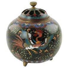Antique Japanese Meiji Period Cloisonné Tripod Censer with Pierced Lid - Bird and Butterfly Motif