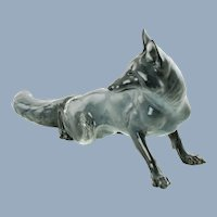 Large Vintage Rosenthal Porcelain Gray Fox Figurine by Theodor Karner