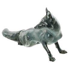 Large Vintage Rosenthal Porcelain Gray Fox Figurine by Theodor Karner
