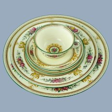 Vintage Wedgwood Columbia Bone China 60 Piece Service for 12 with Dinner, Salad and Bread Plates plus Cups and Saucers