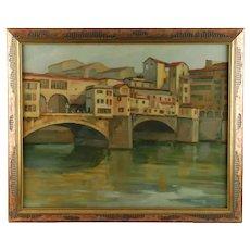 Vintage Original Oil Painting Ponte Vecchio Bridge by Milton Odell
