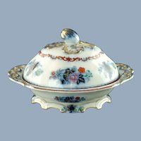 Antique Staffordshire Gilt Imari Covered Tureen with Flower Bud Finial