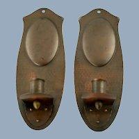 Vintage Roycroft Art Metal Hammered Copper Sconces