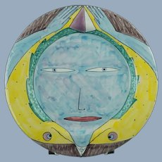 """Vintage Chuck Aydlett Hand Painted 11.25"""" Terracotta Faience Charger Plate Surrealist Face Motif"""
