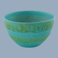 Vintage Alvino Bagni for Raymor Turquoise and Lime Green Ceramic Bowl with Relief Decoration