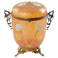 Antique Art Nouveau Enameled Bohemian Glass Lidded Jar in Ornate Gilt Metal Mounts
