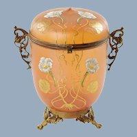 Antique Art Nouveau Enameled Bohemian Glass Lidded Jar in Ornate Gilt Metal Mounts