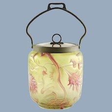 Antique Kralik Abstract Flowers Iridescent Bohemian Art Glass Biscuit Barrel