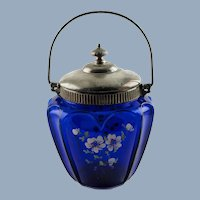 Antique Cobalt Blue 'Open Heart Arches' Biscuit Barrel with Hand Painted Enamel Flowers