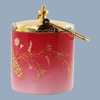 Antique Peachblow Lidded Biscuit Barrel with Gilt Floral Enamel Decoration by Thomas Webb