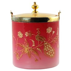 Antique Peachblow Lidded Biscuit Barrel with Gilt Enamel Peacock Decoration