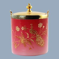 Antique Peachblow Lidded Biscuit Barrel with Gilt Peacock Enamel Decoration