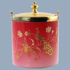 Antique Peachblow Lidded Biscuit Barrel with Gilt Peacock Enamel Decoration