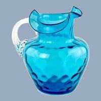 Antique Blue Victorian Art Glass Inverted Thumbprint Pitcher
