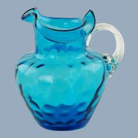Antique Blue Victorian Art Glass Inverted Thumbprint Pitcher with Tri-Fold Rim