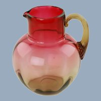 Antique Mt Washington Amberina Creamer Jug with Applied Reeded Amber Handle