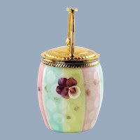 Antique Rainbow Mother of Pearl Satin Glass Biscuit Barrel and Enamel Pansies