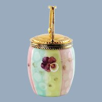 Antique Rainbow Mother-of-Pearl Satin Glass Biscuit Barrel with Raindrop Trapped Air Detail and Enamel Pansies