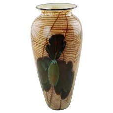Vintage Rick Satava Art Glass Vase Iris on Gold Web