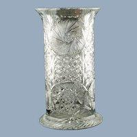 "Large Antique Cut Glass Umbrella Stand Walking Stick Holder Floor Vase 17.75"""