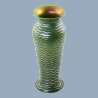 Vintage Lundberg Studios Jade Murano Classic Vase with Numbered Paper Insert
