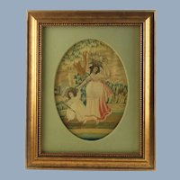 Antique Silk on Silk Embroidery Sampler with Hand Painted Watercolor Detail