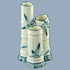Antique Royal Worcester Porcelain Blue and White Bamboo Triple Spill Vase Pattern #1049