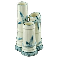 Antique Royal Worcester Porcelain Blue and White Bamboo Triple Spill Vase Pattern #1049