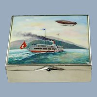 Antique Enameled German 900 Silver Box Featuring Swiss Airship Ville de Lucerne and Paddle Steamer Stadt Luzern