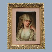"Antique Hand Painted German Porcelain Plaque ""Vestalin after Kaufmann"" by Sontag in Gilt Wood Frame"