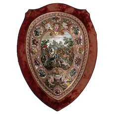 Large Antique Capodimonte Hand Painted Porcelain Shield with Red Velvet Border