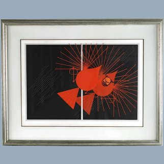 Vintage Charley Harper Seeing Red Framed Serigraph Signed and Numbered Limited Edition