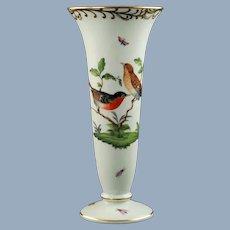 Vintage Herend 'Rothschild Bird' Porcelain Trumpet Form Vase