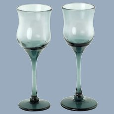 Vintage Craig Zweifel Signed Art Glass Smoke Blue Gray Goblets - Set of 2