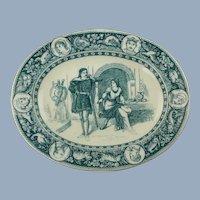 Antique Thomas Allen for Wedgwood Ivanhoe Blue Gray Ceramic Platter De Bracy & Rowena